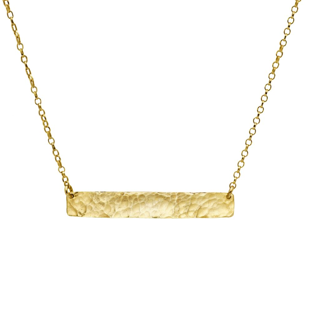 Hammered bar necklace gold plated