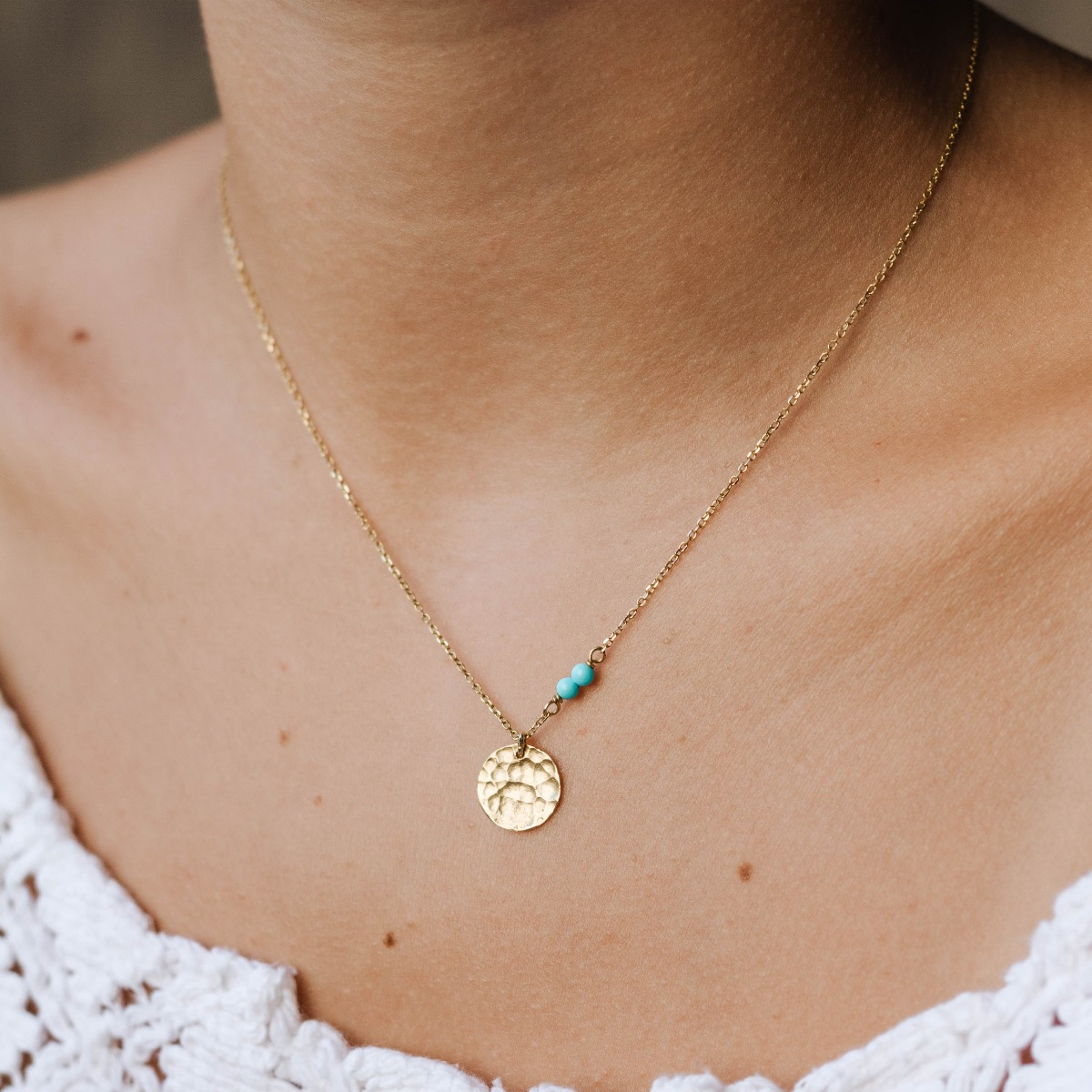 disc necklace hammered