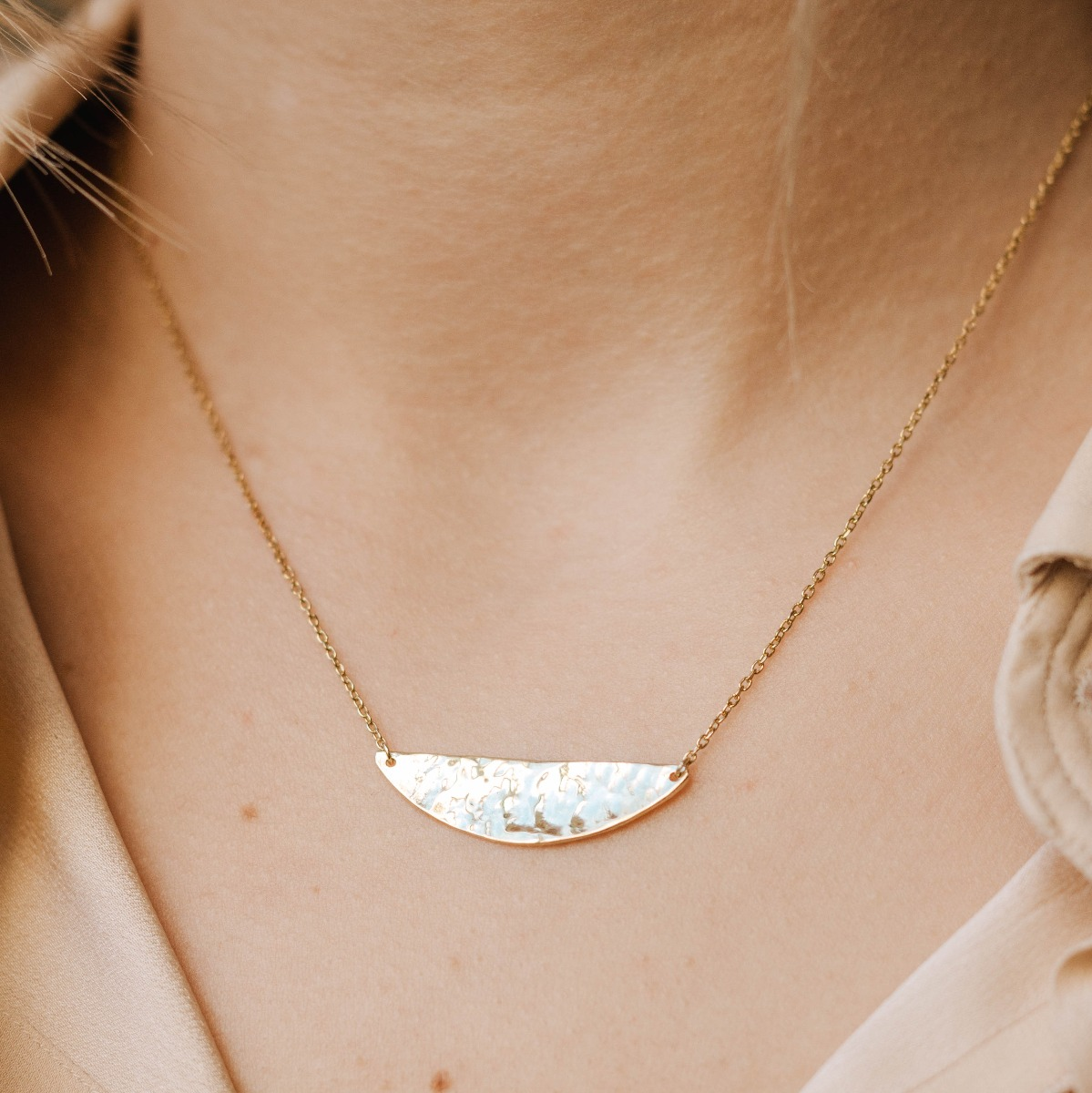 Half Circle Necklace Gold Plated Sterling Silver
