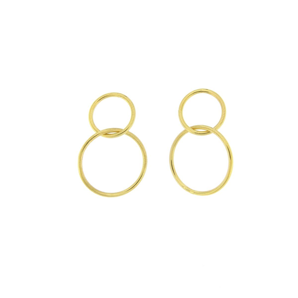 Διπλοί Κρίκοι Κρεμαστοί - Χρυσό