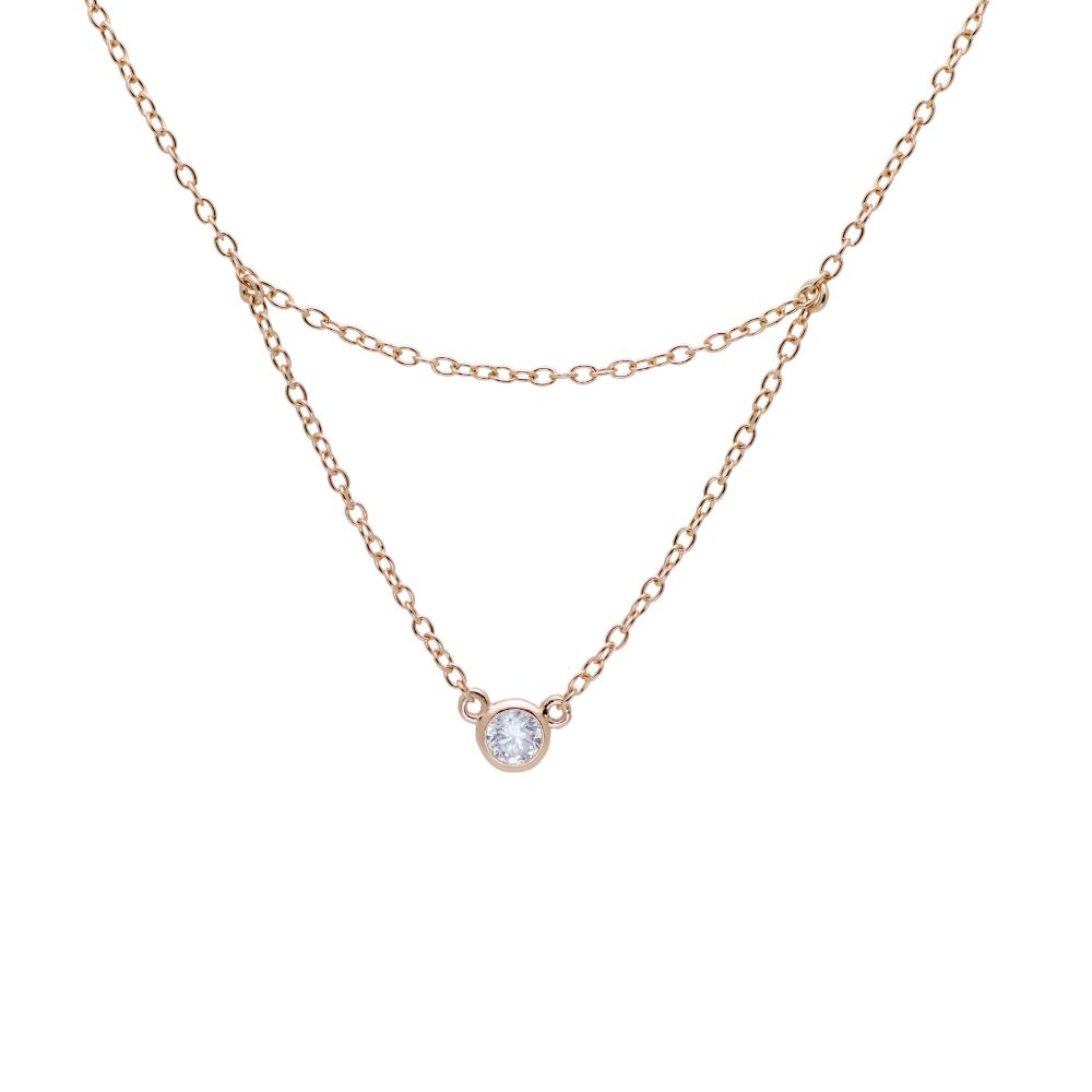 Layered CZ Necklace - Rose Gold