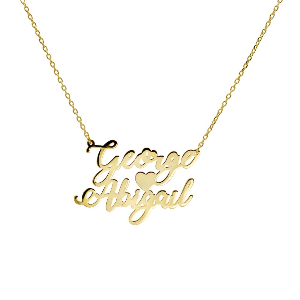Double Name Necklace with a heart - Create your two name necklace (with English or Greek letters)