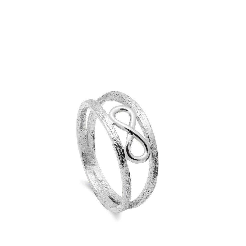 Διπλό Δαχτυλίδι Άπειρο Ασημένιο