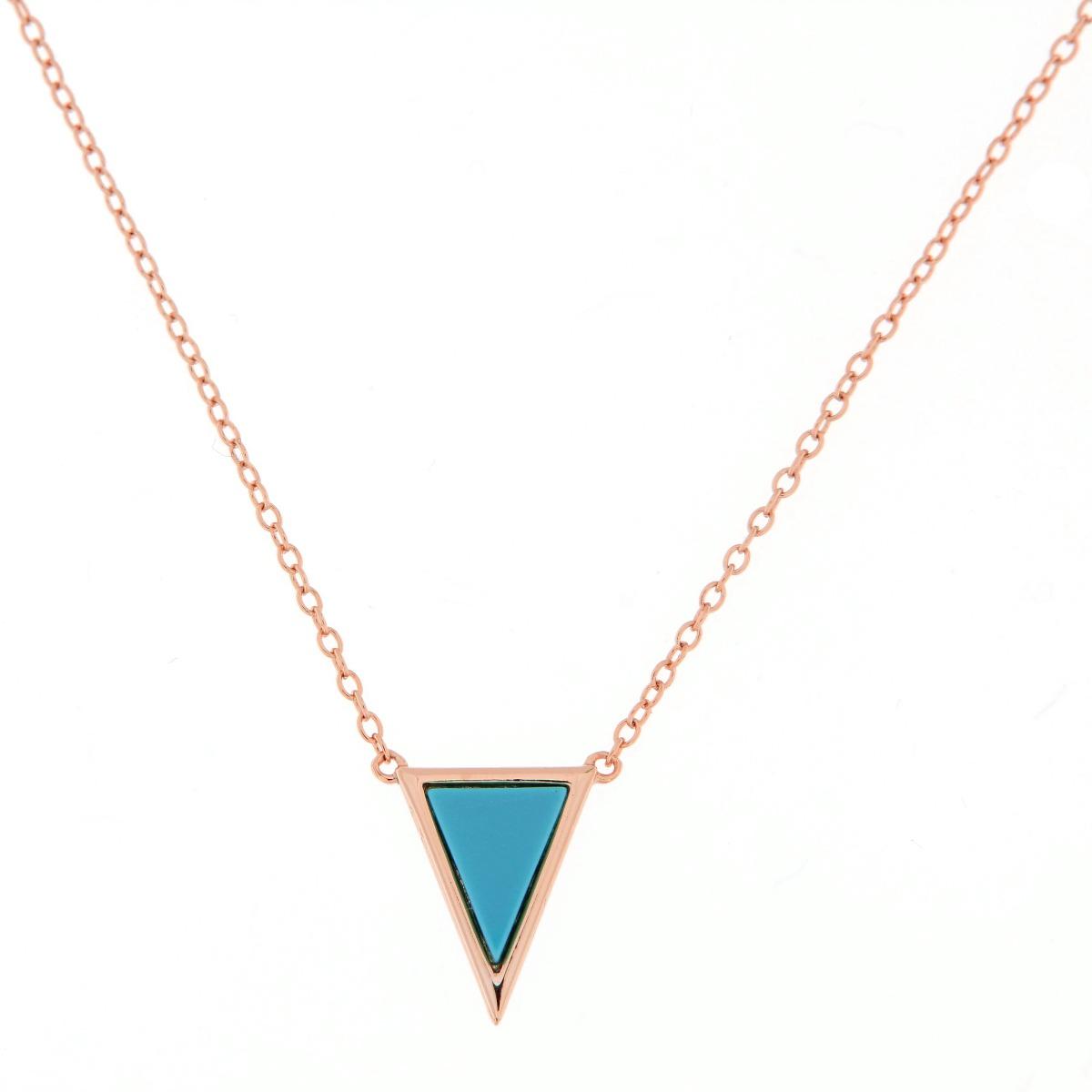 Κολιέ Τρίγωνο Τυρκουάζ - Ροζ Χρυσό