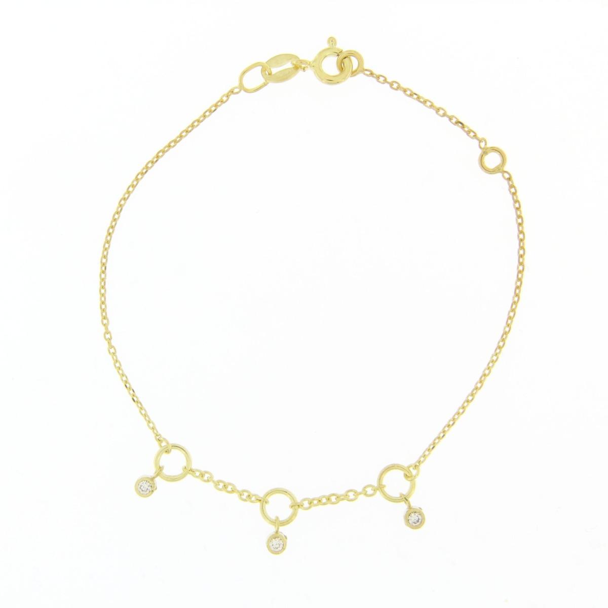 Χρυσό Βραχιόλι Κύκλοι με Πέτρες