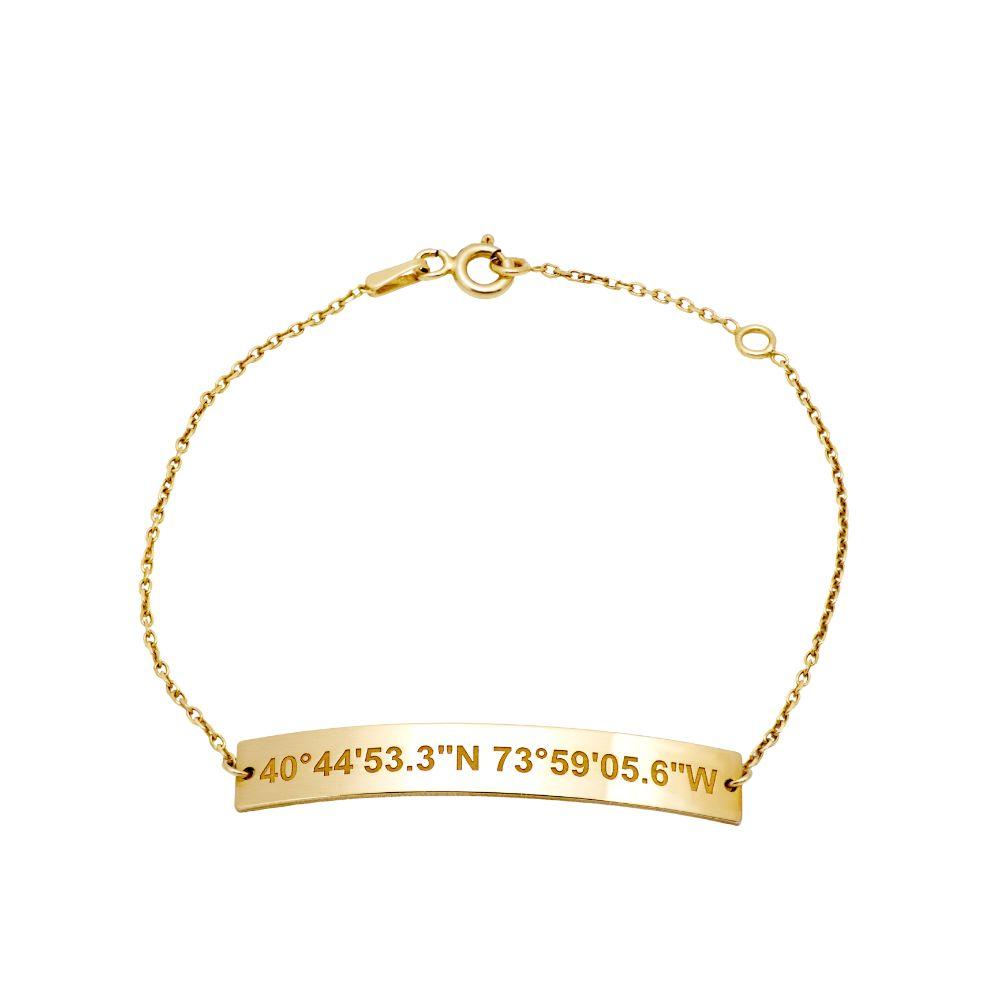 Engraved Coordinates Bar Bracelet Gold Plated