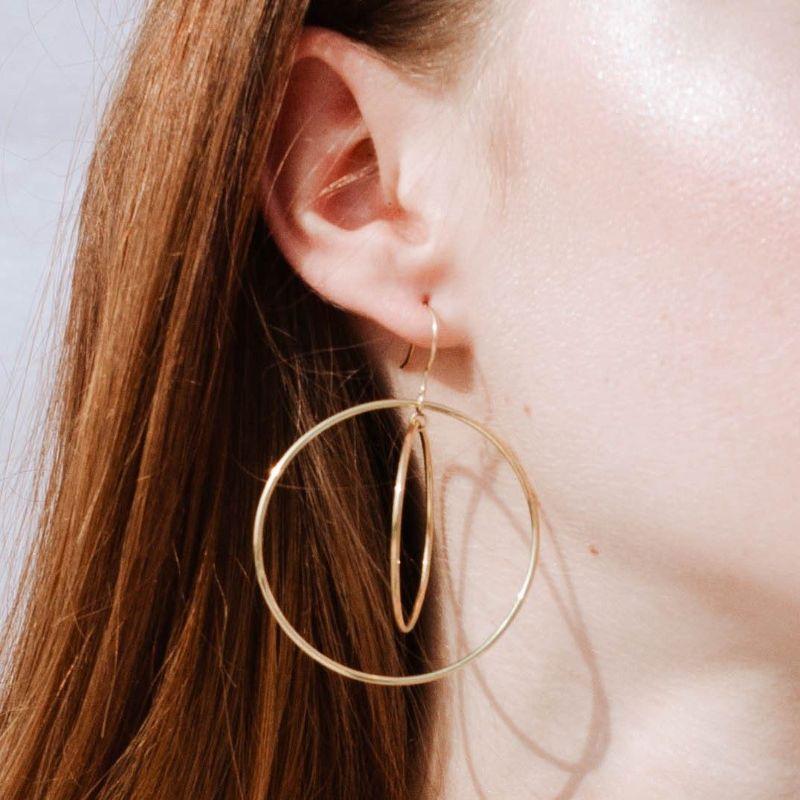 Double Hoop Dangle Earrings Gold