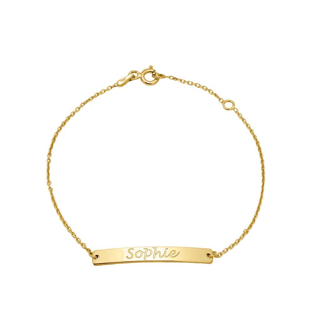 Engraved Name bar Bracelet Gold Plated