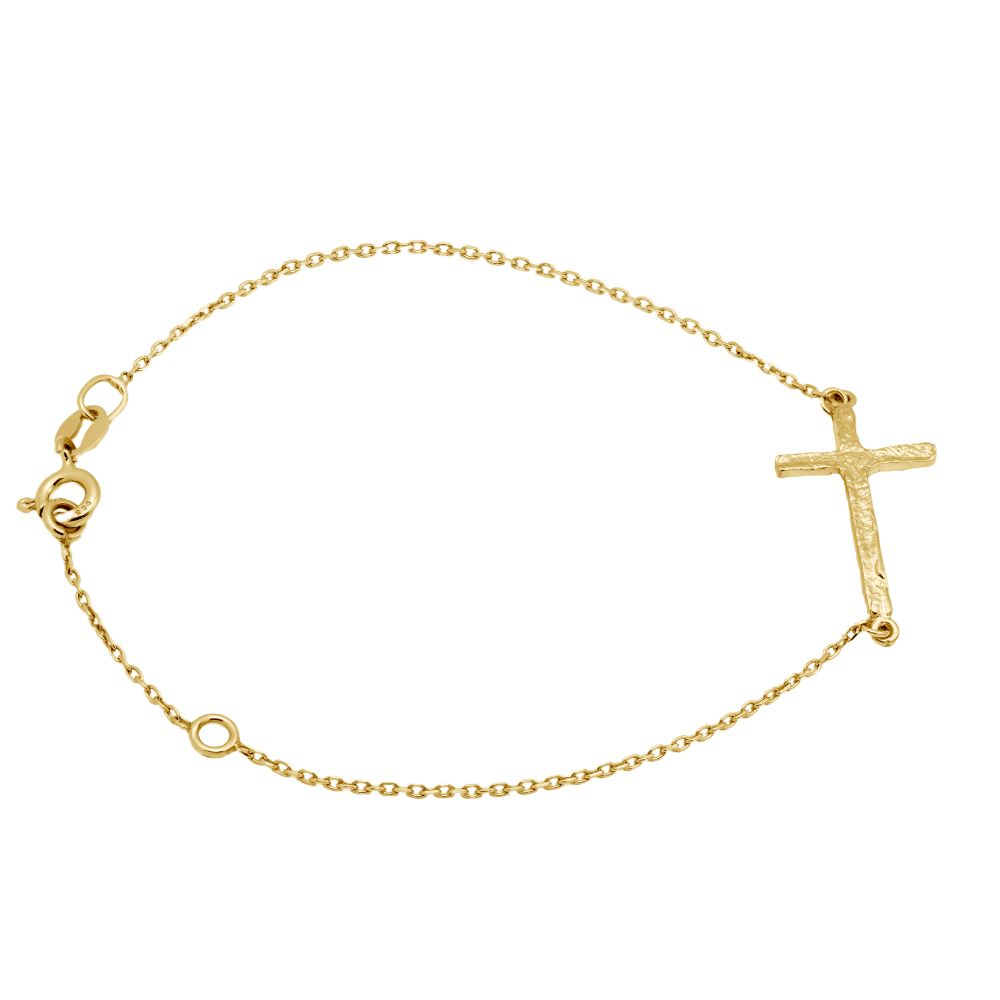 Hammered Cross Bracelet