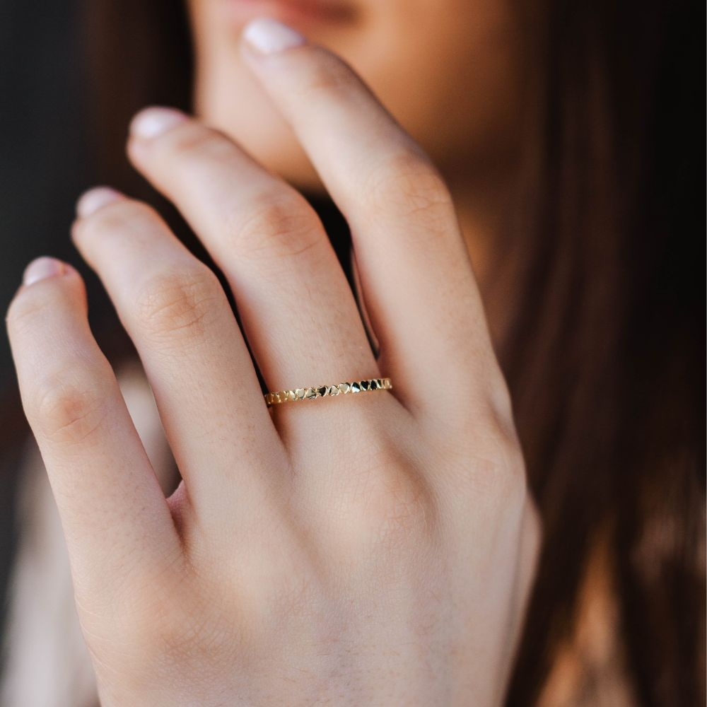 14K Dainty Band Heart