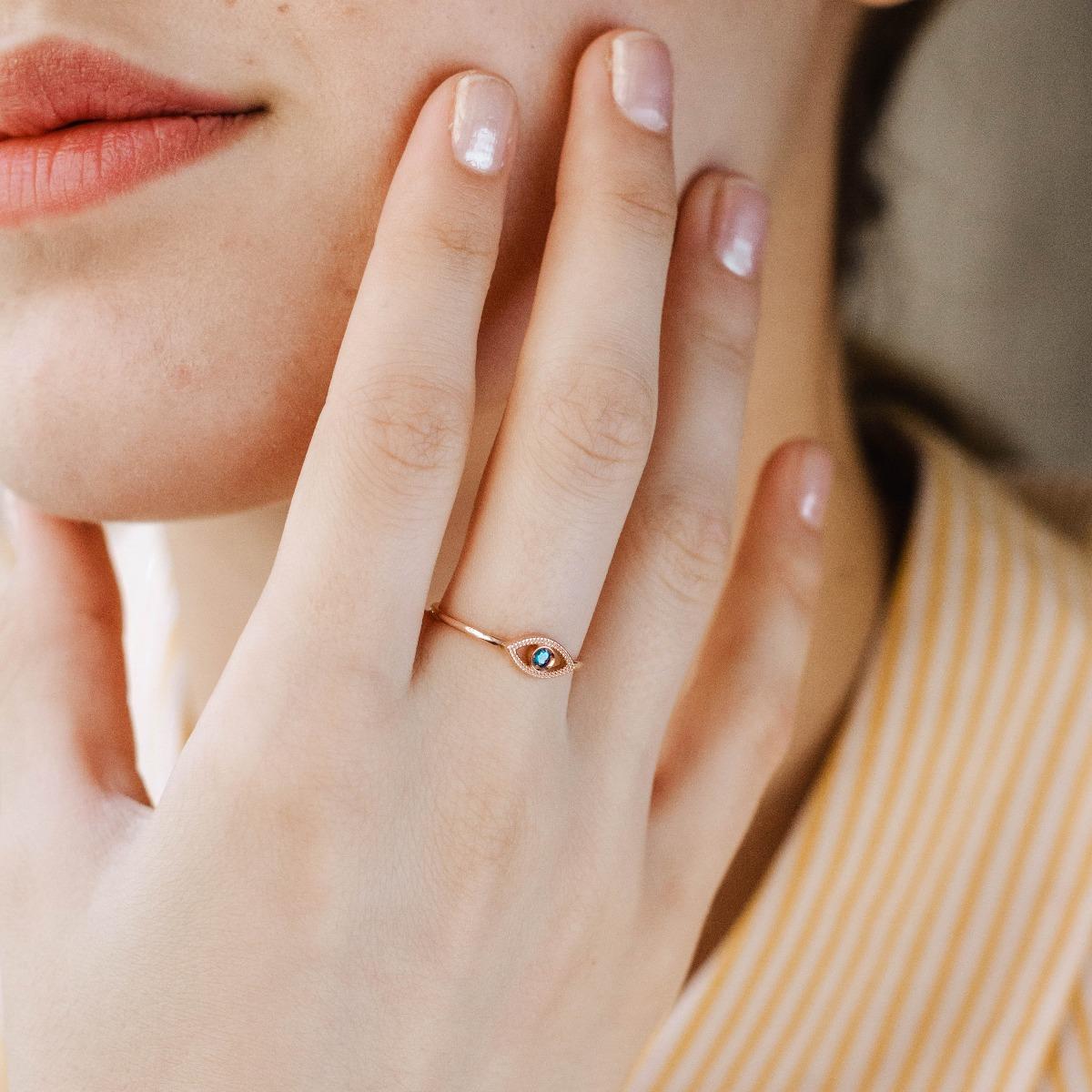 Χρυσό Δαχτυλίδι 14Κ Μάτι Τοπάζι-16662