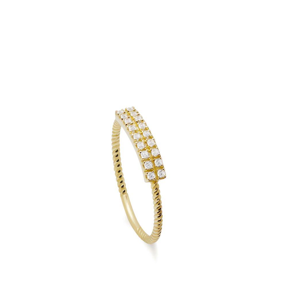 Δαχτυλίδι Χρυσό Διαμάντια 2 Σειρές