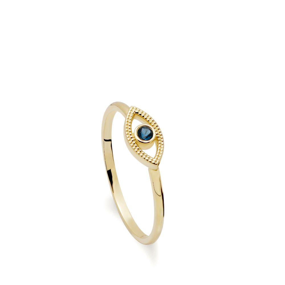 Χρυσό Δαχτυλίδι 14Κ Μάτι Τοπάζι-0