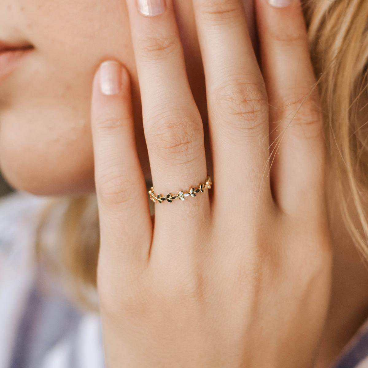 14K gold ring leaf