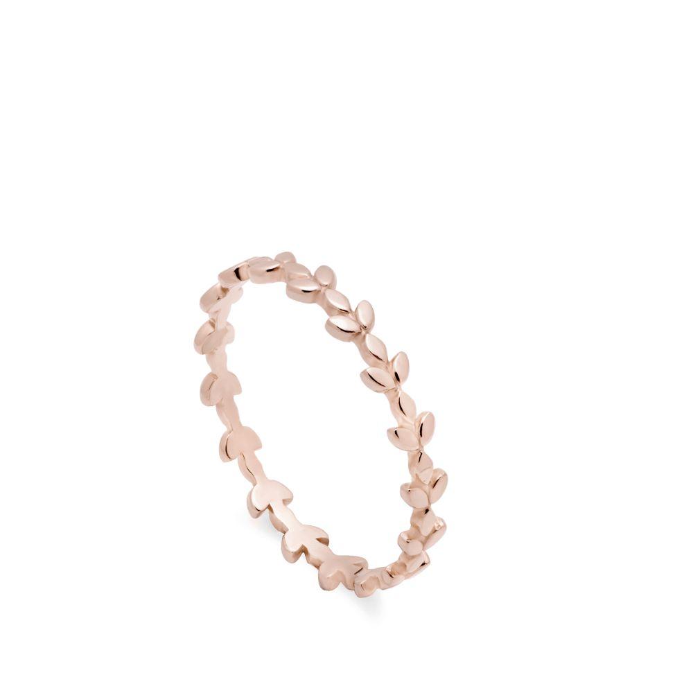 ροζ χρυσό δαχτυλίδι φύλλα