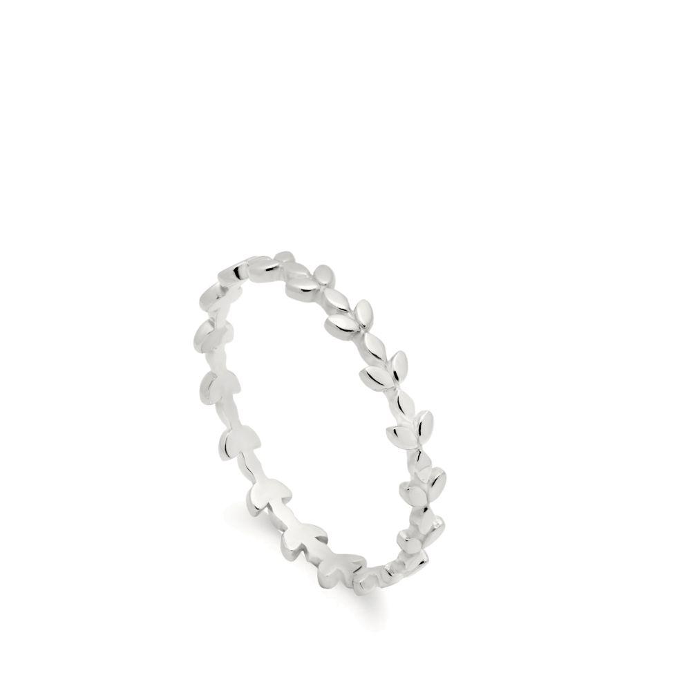 λευκόχρυσο δαχτυλίδι φύλλα