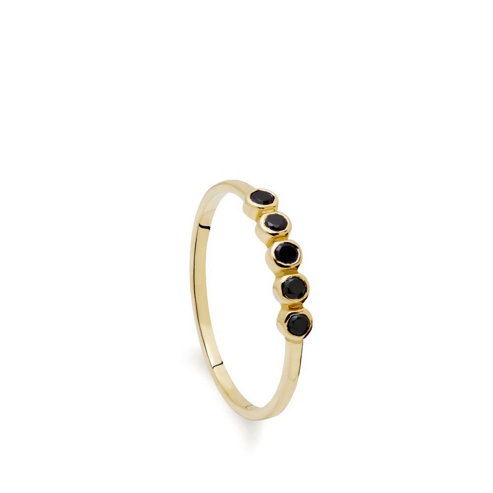 Δαχτυλίδι με 5 Μαύρα Διαμάντια-0