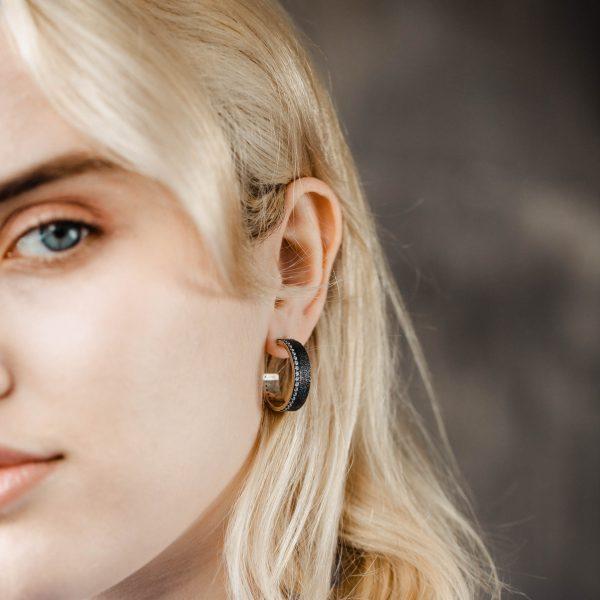 Μεγάλα Σκουλαρίκια Κρίκοι Οξειδωμένο Ασήμι