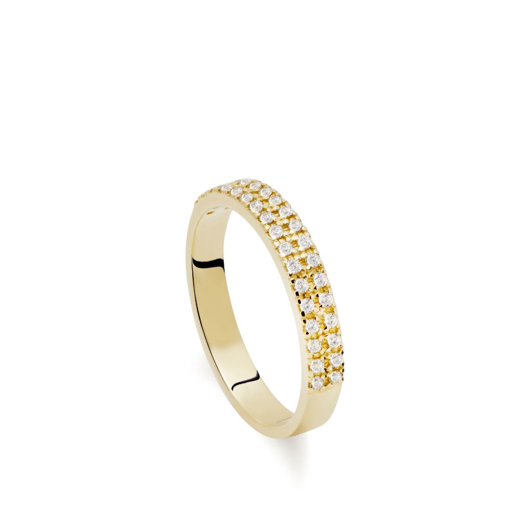 Double Eternity Diamond Ring 14K Gold