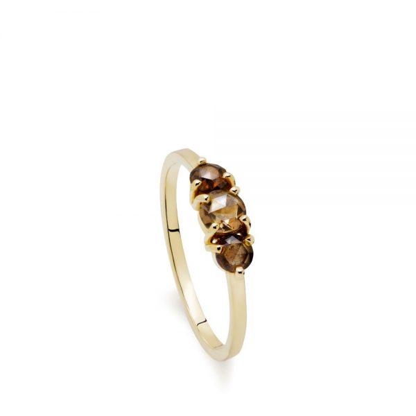 Δαχτυλίδι Χρυσό με Καφέ Διαμάντια
