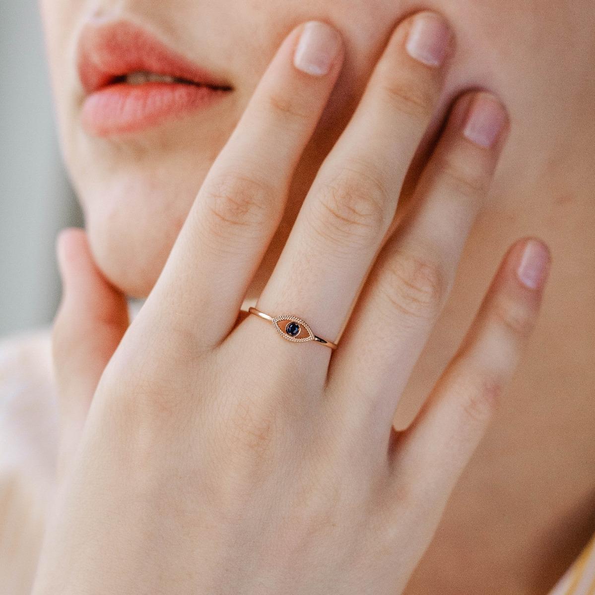 Χρυσό Δαχτυλίδι 14Κ Μάτι Ζαφείρι-16661