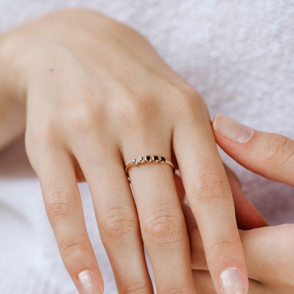 Black 5 Diamond Ring