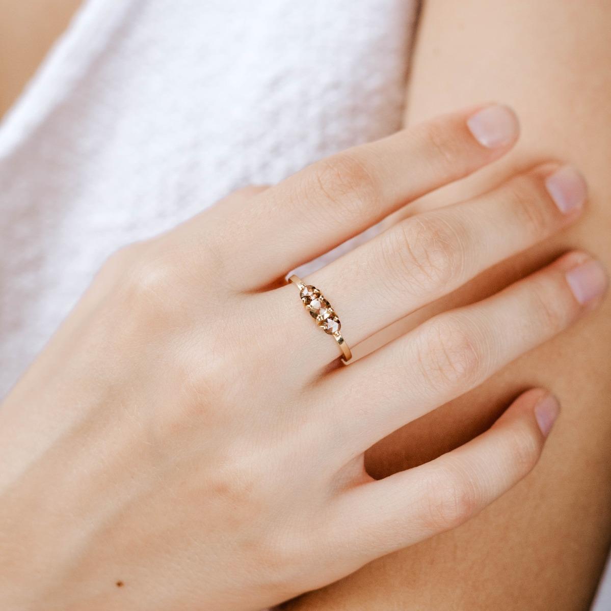 Brown Diamond Engagement Ring 14K Gold
