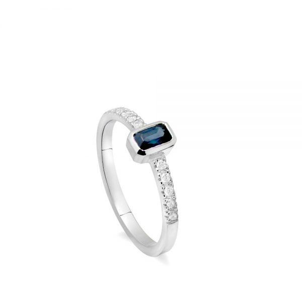 Δαχτυλίδι Ζαφείρι Διαμάντια