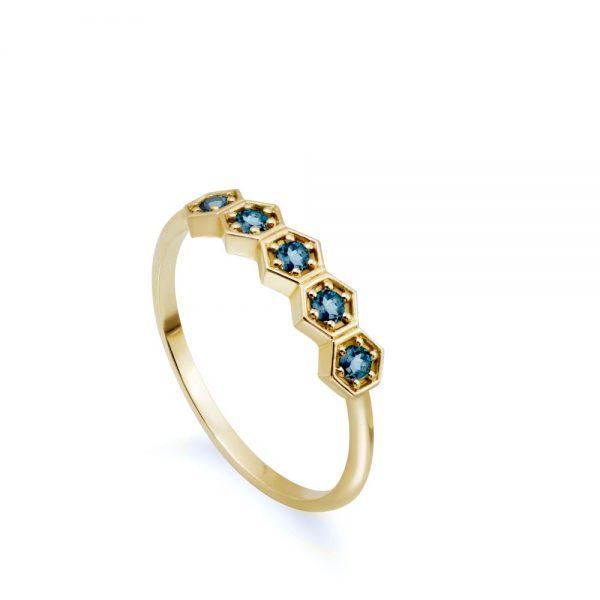 Δαχτυλίδι Blue Topaz Εξάγωνα