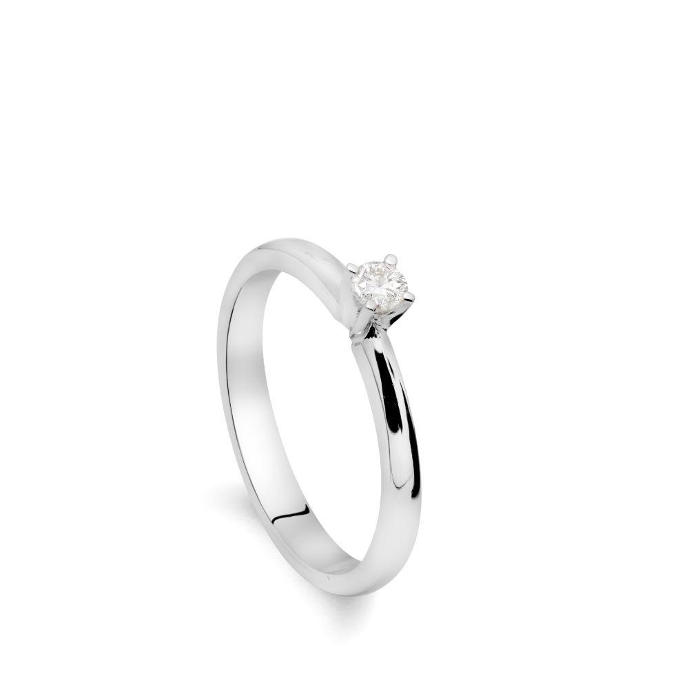 Μονόπετρο Δαχτυλίδι Διαμάντι Λευκόχρυσο