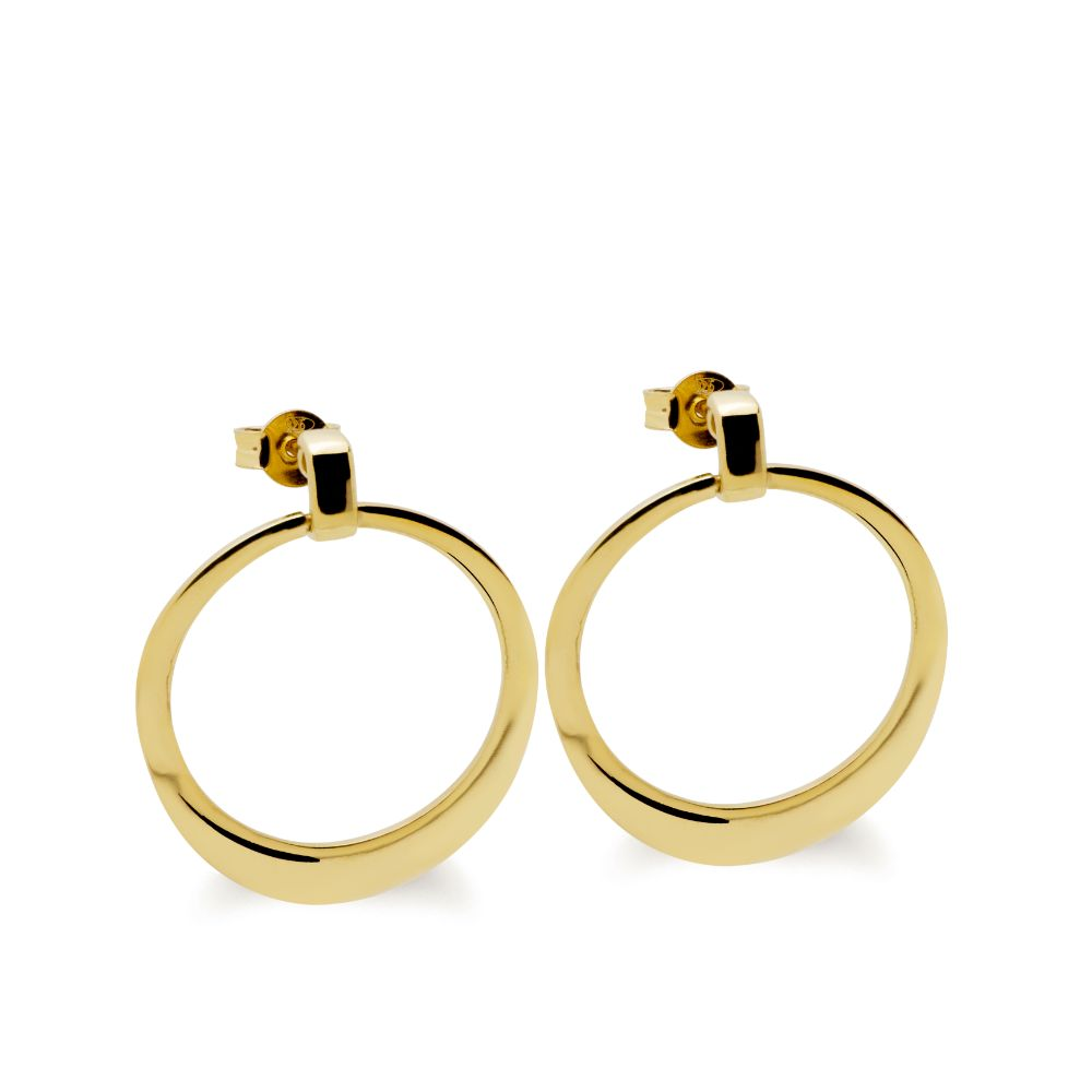 Drop Hoop Earrings Gold Plated Silver