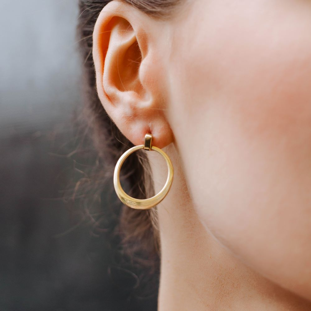 Drop Hoop Earrings Sterling Silver