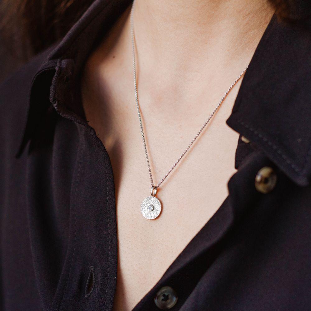 Κολιέ Δίσκος με Ζιργκόν Χρυσό - Κολιέ Κύκλος Επιχρυσωμένο Ασήμι 925