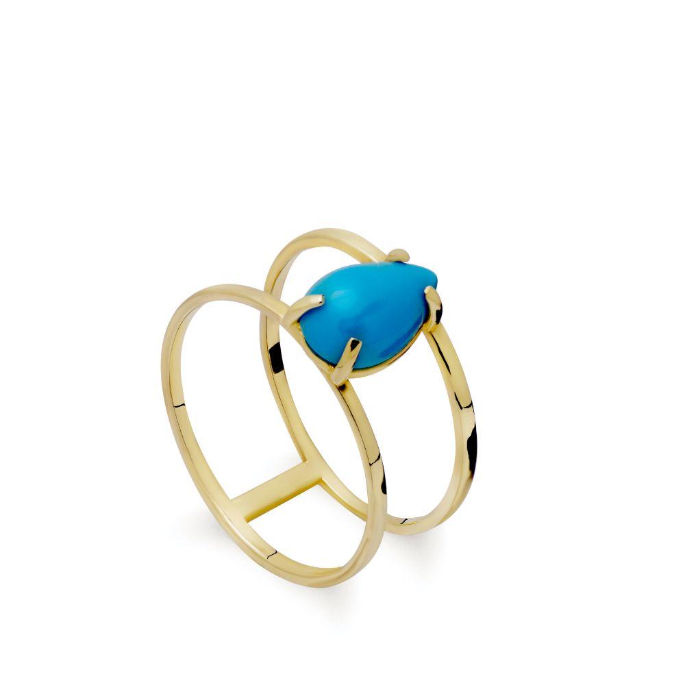 Δαχτυλίδι Διπλό Τυρκουάζ Χρυσός 14 Καρατίων