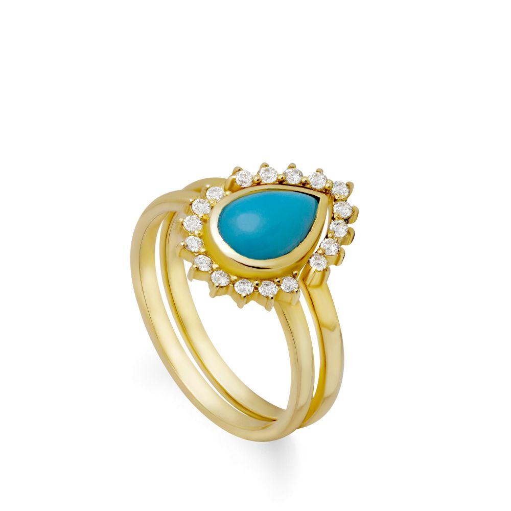 Turquoise Diamond Engagement Ring Set 14K Gold
