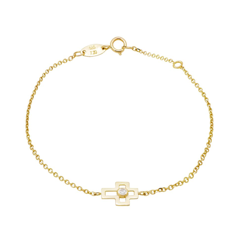 Cross Bracelet 14K Gold