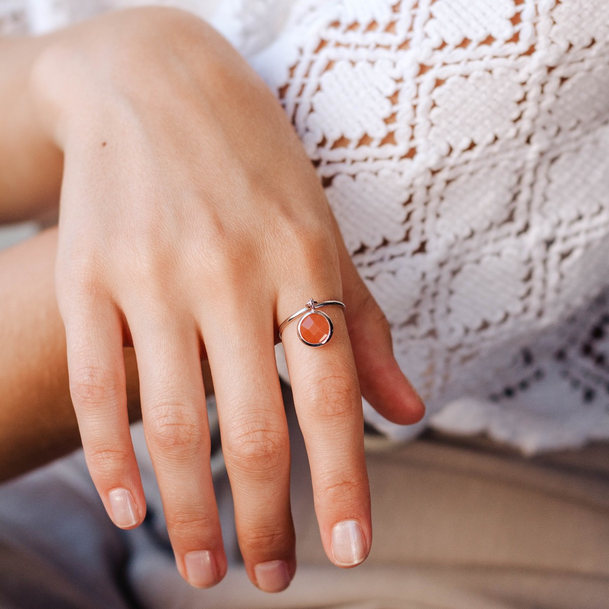 Orange Moonstone Dangle Ring