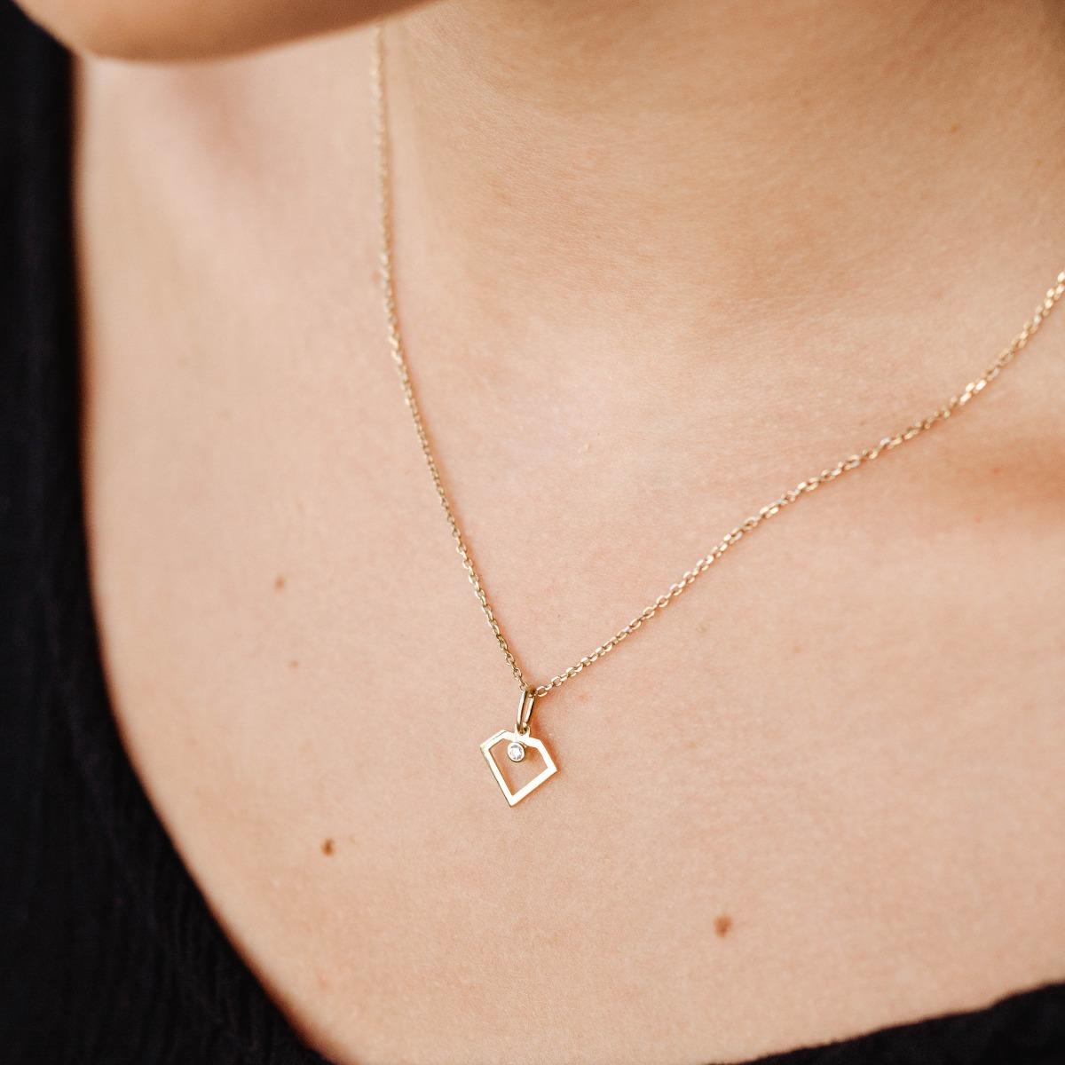 Diamond Shape Necklace 14K Gold