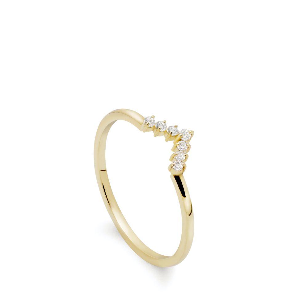 Chevron Diamond Ring 14K Gold