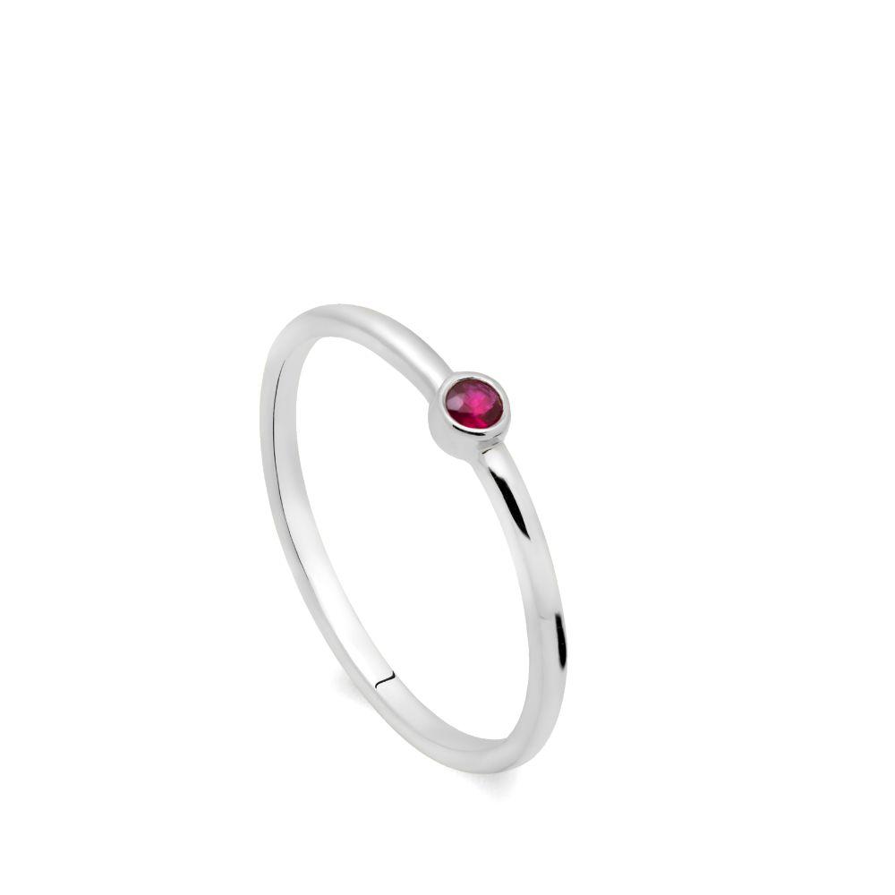 Δαχτυλίδι Ρουμπίνι Λευκόχρυσο