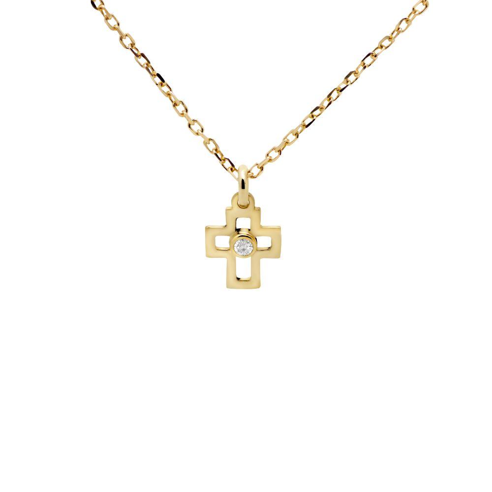 Κολιέ Σταυρός Διαμάντι Χρυσό