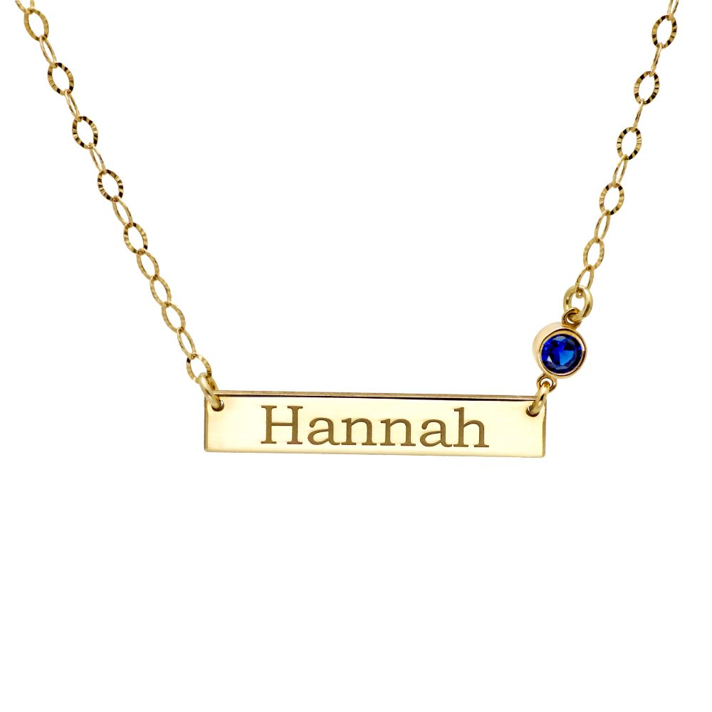 Bar Birthstone Necklace Gold Plated Sterling Silver