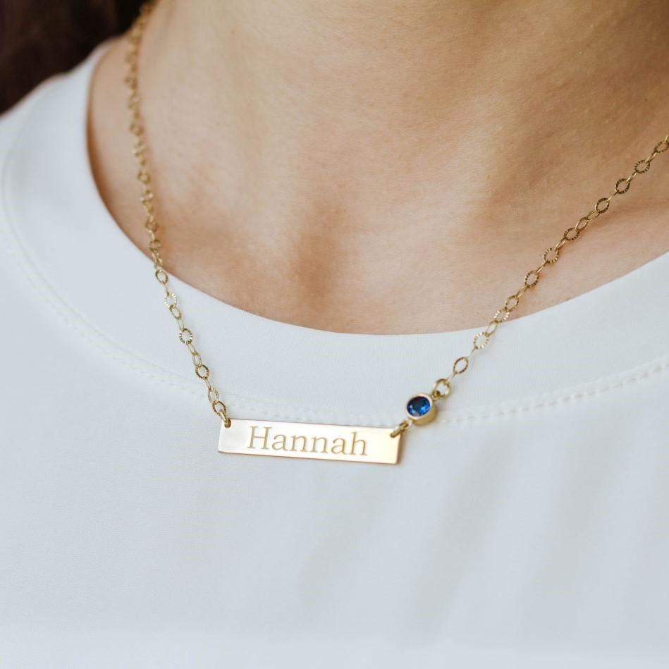 Bar Birthstone Necklace Sterling Silver
