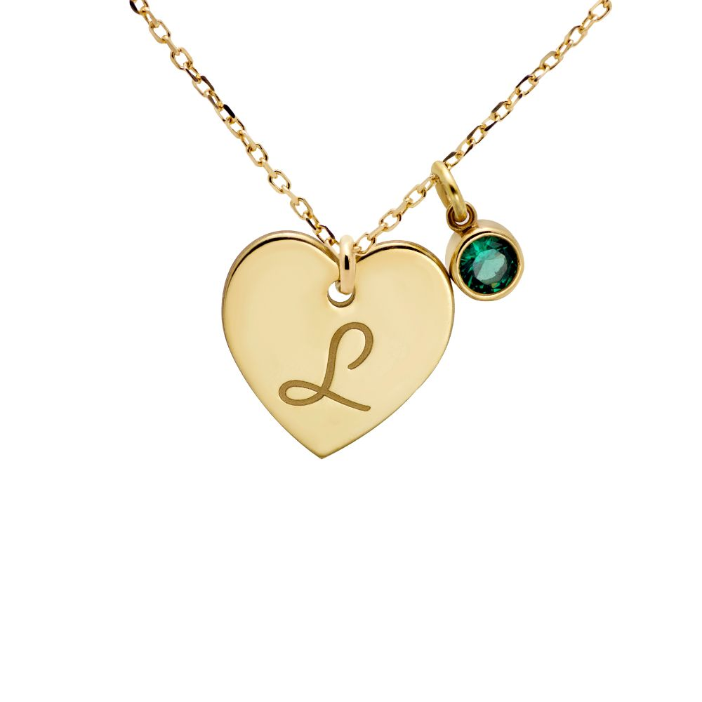 Birthstone Heart Necklace Gold Plated