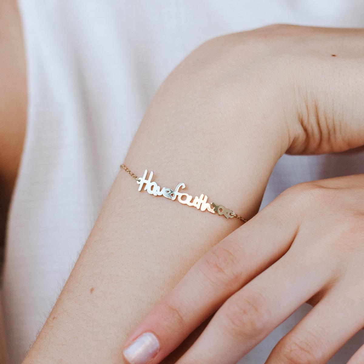 Actual Handwriting Bracelet Silver