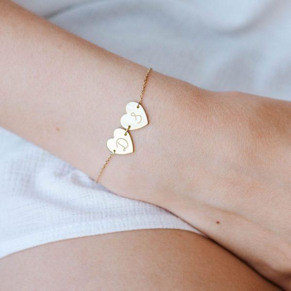 Custom Initial Heart Charm Bracelet