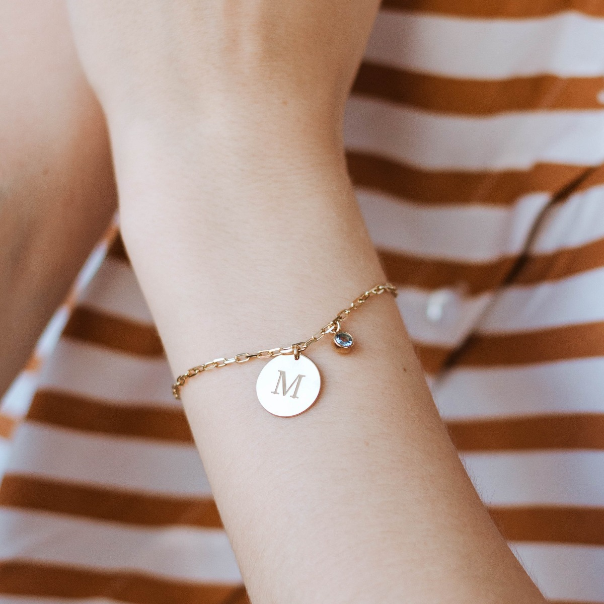 Birthstone Initial Bracelet Sterling Silver Gold Plated