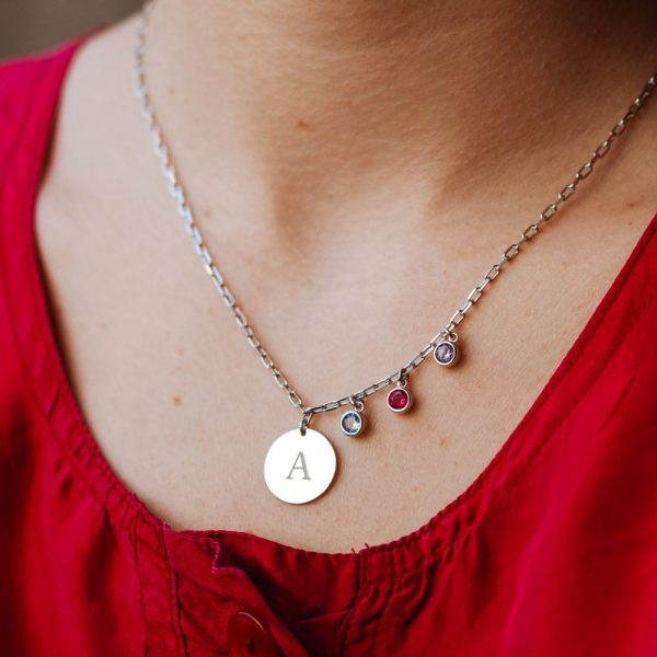 Letter Birthstone Necklace Sterling Silver 925