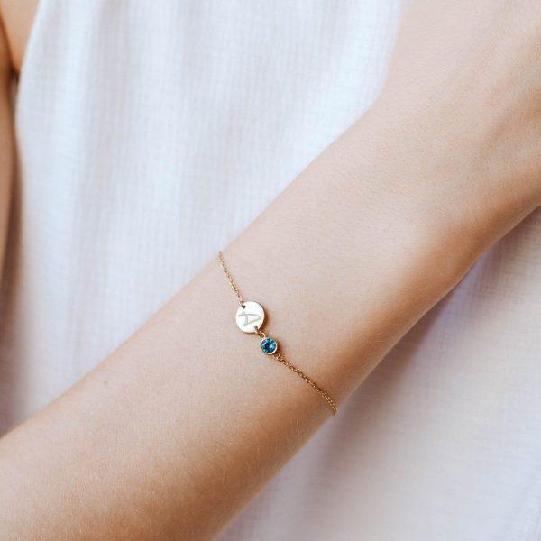 Disc Initial Birthstone Bracelet - September Birthday Gift