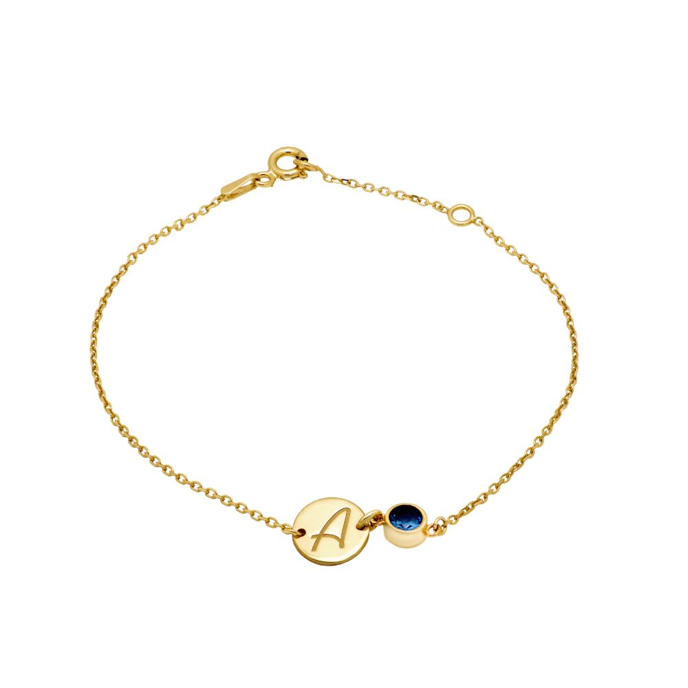 Disc Initial Birthstone Bracelet Gold Vermeil